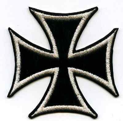 "CAFÉ RACER ROCKERS TON-UP BOY 59 BIKER JACKET PATCH Silver-Black 3/"" Iron Cross"