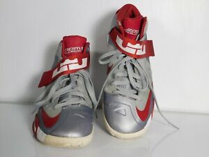 Nike-Zoom-Soldier-Men-039-s-Shoes-IV-Lebron-James-Gray-Red-Size-9-5-525017-003