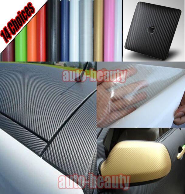All Sizes 14 Colours Car 3D Carbon Fiber Vinyl Wrap Sheet Sticker Film Decal
