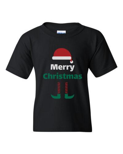 Boys /& Girls Youth Toddler Merry Christmas T Shirt Elf T-Shirt Santa Hat Gift