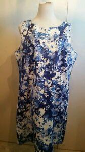 Van-heusen-size-16-sleeveless-knee-length-Dress-floral-blue-NWT-039-S-99