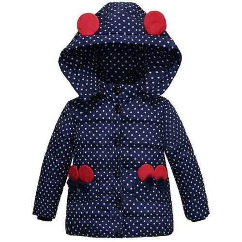 Girls Kids Hooded Polka Dot Winter Coat Jacket Thick Warm Outwear Tops Age 2-5Y