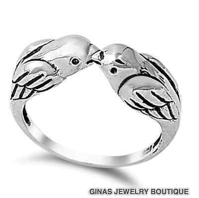 Two Love Birds Design Ring Thumb Designer All Genuine Sterling Silver .925 9,10