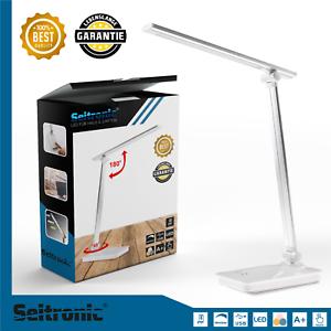 LED-Tischlampe-Schreibtischleuchte-dimmbar-Lese-Lampe-Nachttischleuchte-USB-weiss