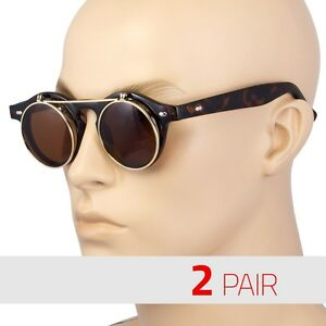2-Pair-Cool-Flip-Up-Lens-Steampunk-Vintage-Retro-Round-Sunglasses-Tortoise-Vinta