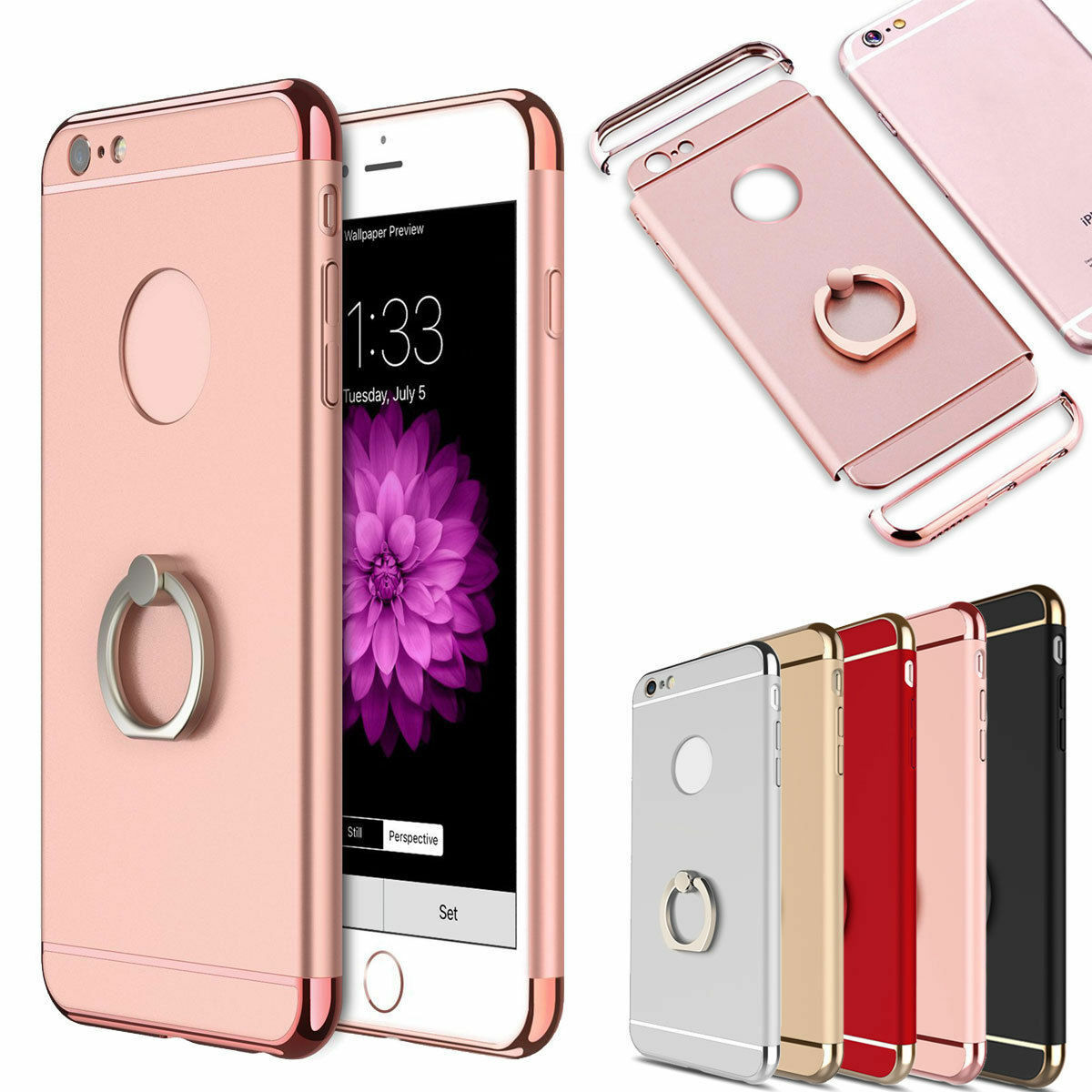 for iphone 8 7 8 plus hybrid rubber hard case with ring. Black Bedroom Furniture Sets. Home Design Ideas