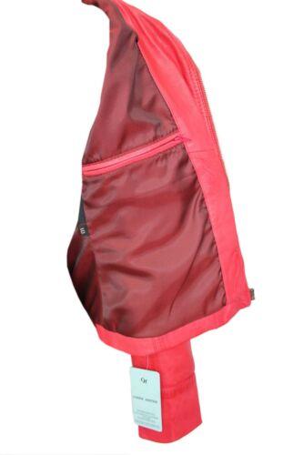 LUSSO Donna Elegante Rosso Giacca Reale in Pelle Nappa Italiano Design In Stile Motociclista