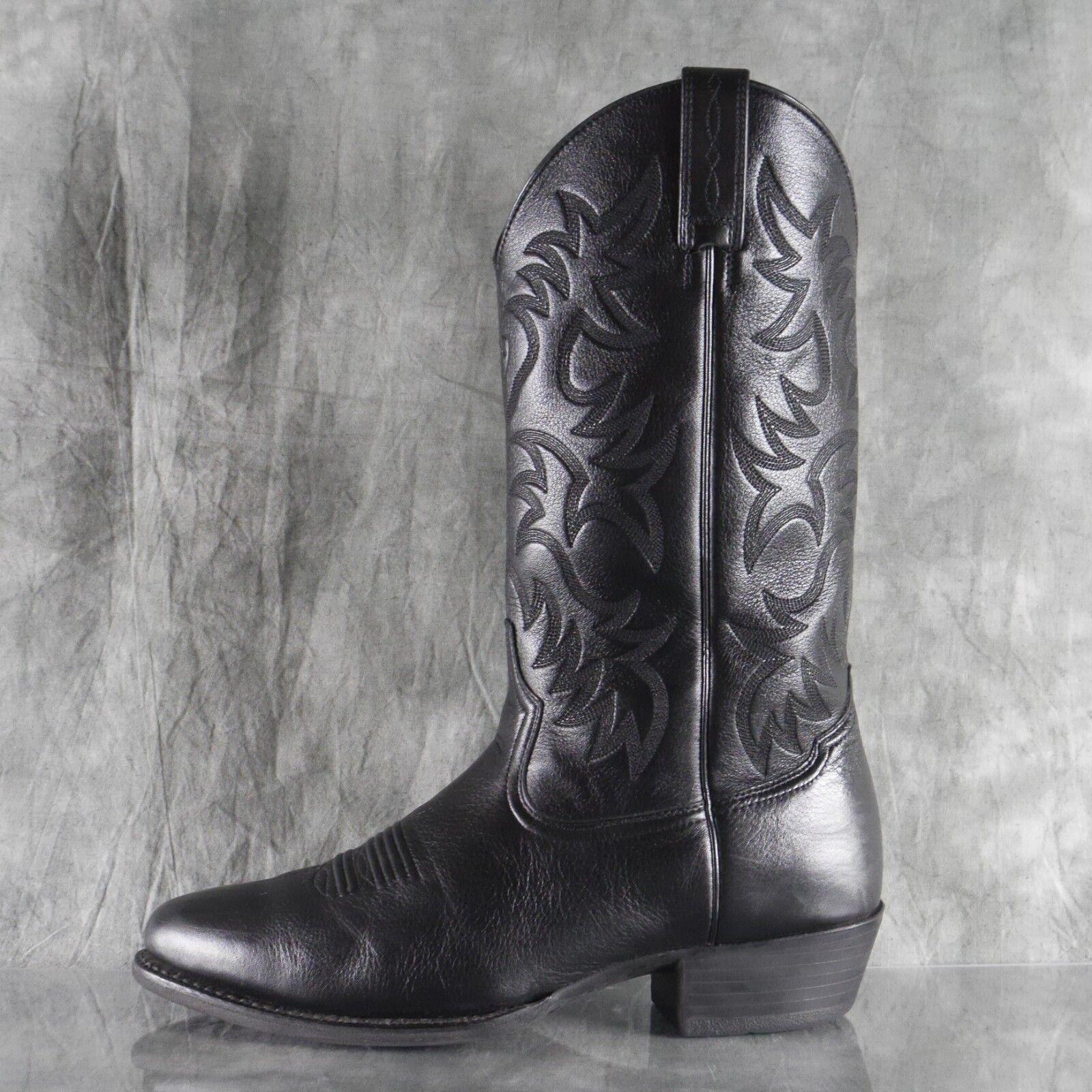 NEUF sans boîte Ariat Heritage R Toe en cuir noir western cowboy bottes homme taille 11EE ANB