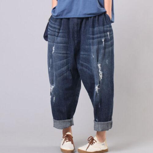Damen Tiefer Schritt Denim Hose Baggy Jeans Harem Hippy Distressed Zerrissen
