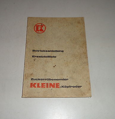 1960 Romantic Operating Instructions/parts Catalog Small Bunker-köpfroder Type Krx Other Tractor Publications