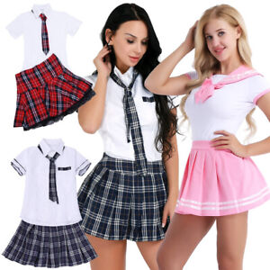 08a9bc1036a81 Details about Women's Sexy Lingerie School Girl Uniform Cosplay Students  Outfit Costumes Dress