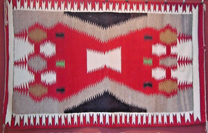 VERY-FINE-ANTIQUE-NAVAJO-INDIAN-RUG-WEAVING-62-034-BY-38-034-NATIVE-AMERICAN-20S