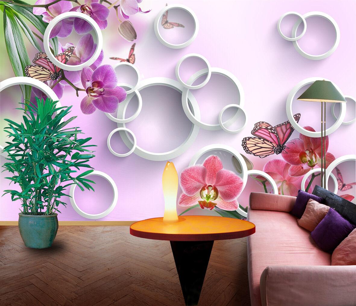 3D Fleur Pourpre 1 Papier Peint en Autocollant Murale Plafond Chambre Art