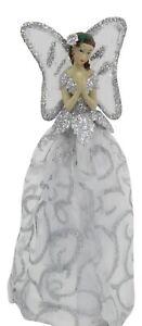 Sapin-de-Noel-Dessus-Fairy-Ange-Decoration-Haut-Ornements-Blanc-Argent-Robe