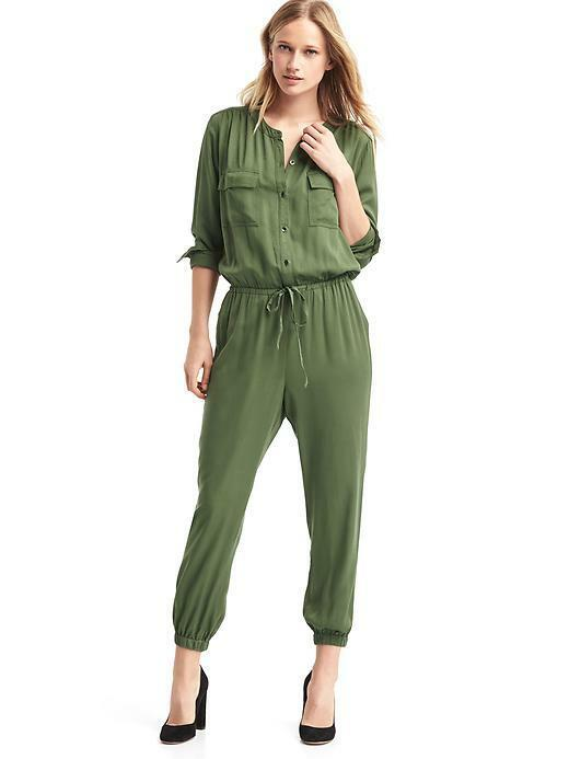 Nwt gap modal cargo jumper jumpsuit small S military jungle  green pants