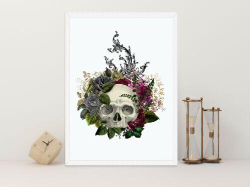 Floral Skull Gothic skull wall art print unframed