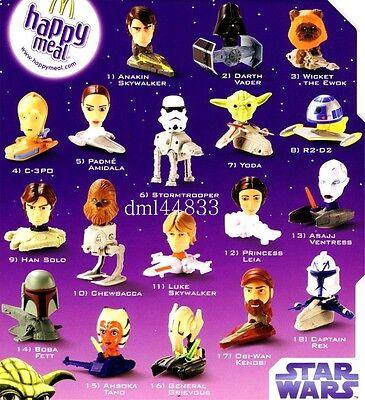 2008 McDonalds Star Wars MIP Complete Set - Lot of 18, Boys & Girls, 3+