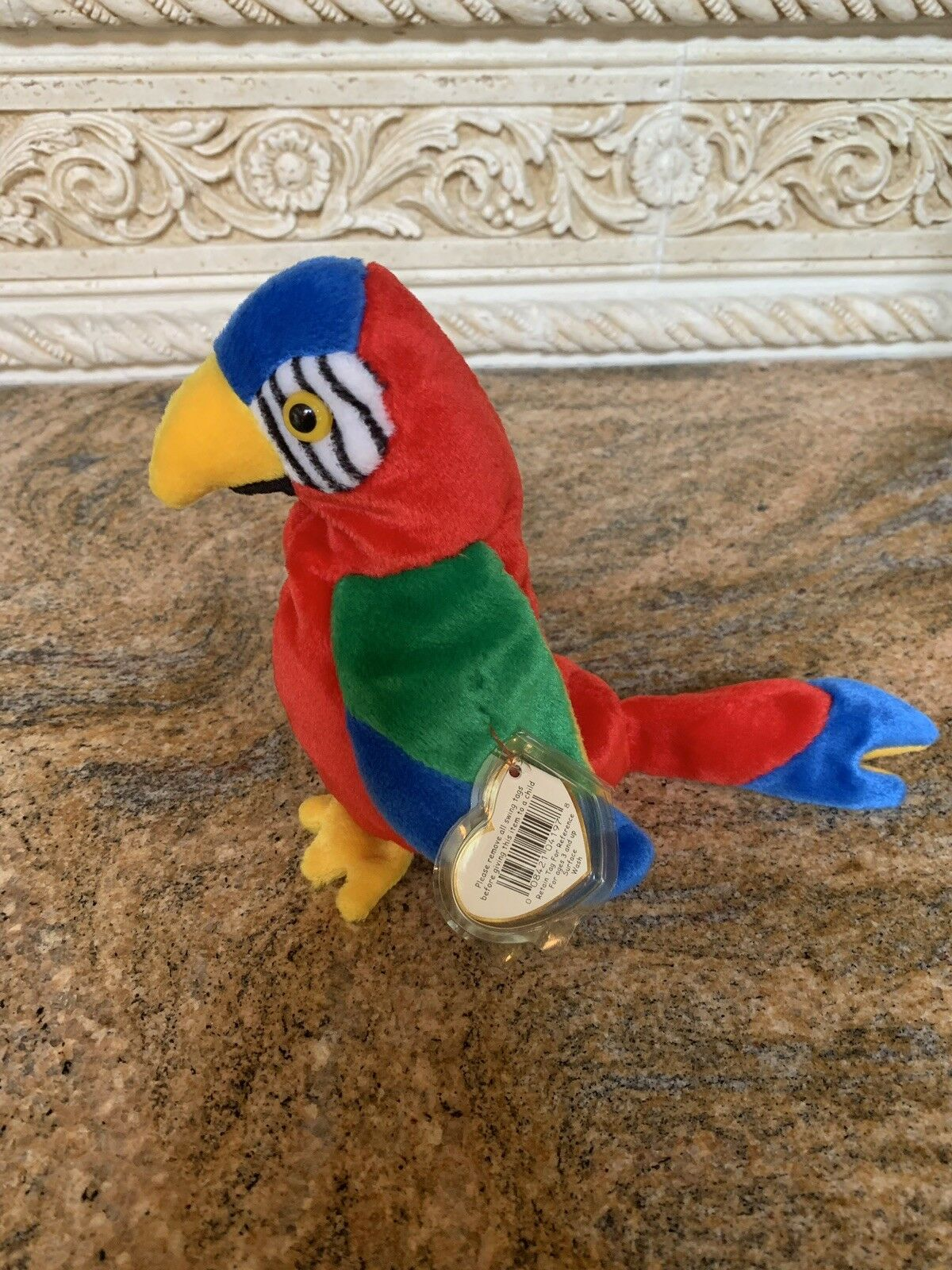 TY Beanie Baby  JABBER  the Macaw Parred Bird Plush - Free Shipping