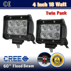 2PCS-4INCH-18W-CREE-LED-FLOOD-BEAM-OFFROAD-DRIVING-WORK-LIGHT-BAR-WD-10W-36W-54W