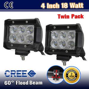 2PCS-4INCH-18W-CREE-LED-FLOOD-BEAM-OFFROAD-DRIVING-WORK-LIGHT-BAR-WD-10W-36W-54W