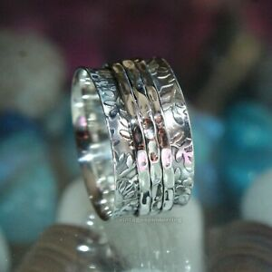 Good Quality Solid 925 Sterling Silver Wide Band Spinner Ring Jewelry Handmade All US Size Free Shipping