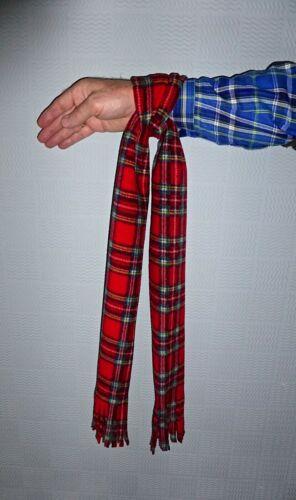 Red tartan wrist scarf plaid concert tie Rod Stewart Bay City Rollers Patriotic