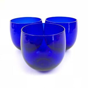 Cobalt-Blue-Tumbler-Water-Glass-Hand-Blown-Set-of-3