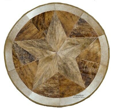 Cowhide Patch Work Texas Star Rug Round