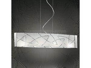 Sospensione lampadario design moderno acciaio cromato vetro
