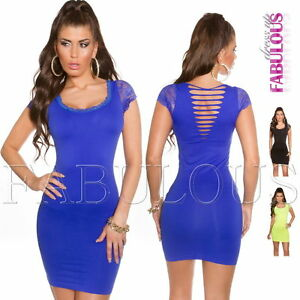 Sexy-Bodycon-Short-Sleeve-Lace-Mini-Dress-Casual-Clubbing-Party-Size-8-10-S-M