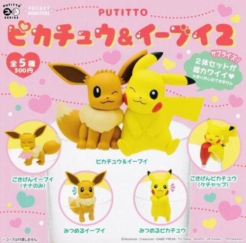 Kitan Club Pokemon PUTITTO Pikachu /& Eevee 2 Gashapon 5 set mini figure capsule