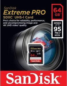 SanDisk 64GB 95MB/s Extreme Pro SDXC Memory Card UHS-I V30 SD U3 633x 4K UHD 619659070984