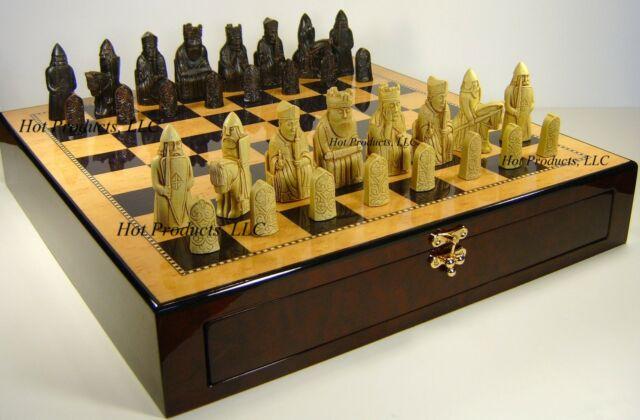"Black RUSSIAN 3 1//2/"" King Staunton Chess Set Black /& Maple STORAGE Board 16/"""