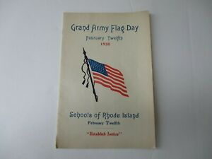 Civil War GAR Grand Army Flag Day Program Rhode Island February 1930