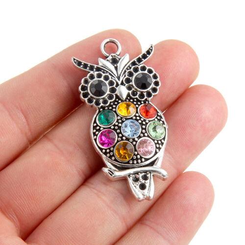 1Pcs Multicolore Cristal Hibou Charme Pendentif À faire soi-même Collier Bijoux Cadeau Making