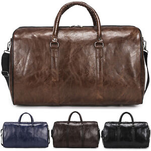 Mens-Leather-Duffle-Weekend-Bag-Gym-Travel-Bags-Luggage-Leather-Handbag-Holdall