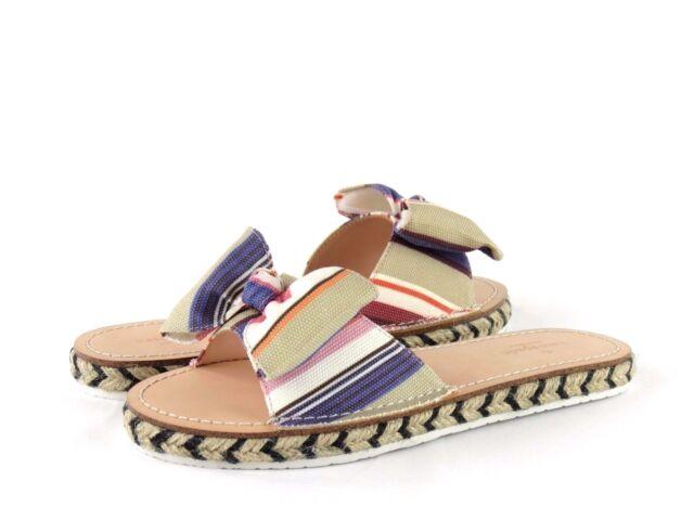 c49f89e7ba5f Kate Spade New York Idalah Slide Multicolor Stripe Printed Canvas Bow Sandal  8.5