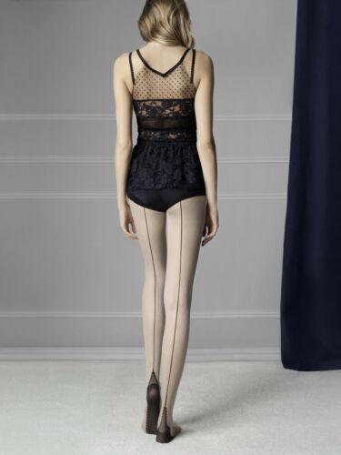 """Fiore /""""Sin/"""" 20 deniers Style Vintage Noir Couture Collants à motifs"""