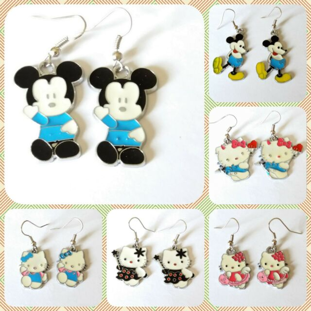 ae1f34a75 *UK* LADIES GIRLS SILVER PLT MICKEY MOUSE & HELLO KITTY ENAMEL DANGLE  EARRINGS