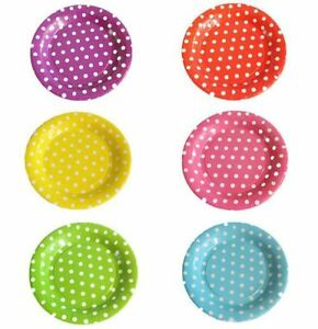 Image is loading KRAFTZ-8Pc-Polka-Dot-Paper-Plates-Disposable-Tableware-  sc 1 st  eBay & KRAFTZ® 8Pc Polka Dot Paper Plates Disposable Tableware 7.5 ...