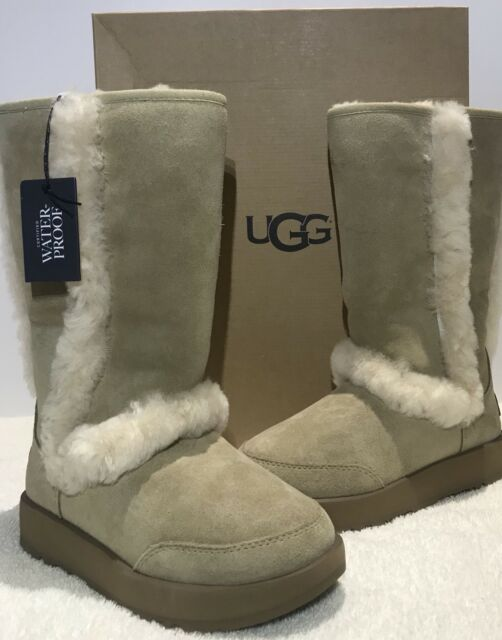e9e6ff9af9c UGG Sundance Waterproof Tall BOOTS Womens Size 5 Sheepskin Fur Trim Sand  1017511