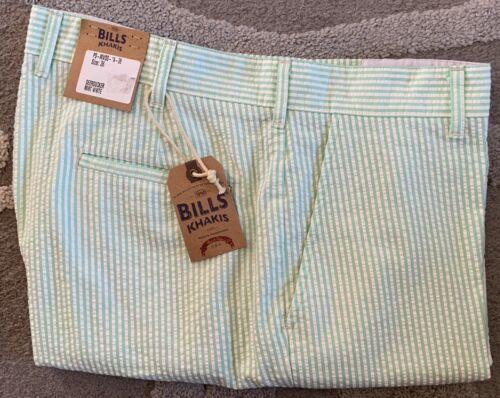 NWT-Bills Khakis Parker PS-MWSS Standard Seersucker Shorts-Mint SZ 36-$120