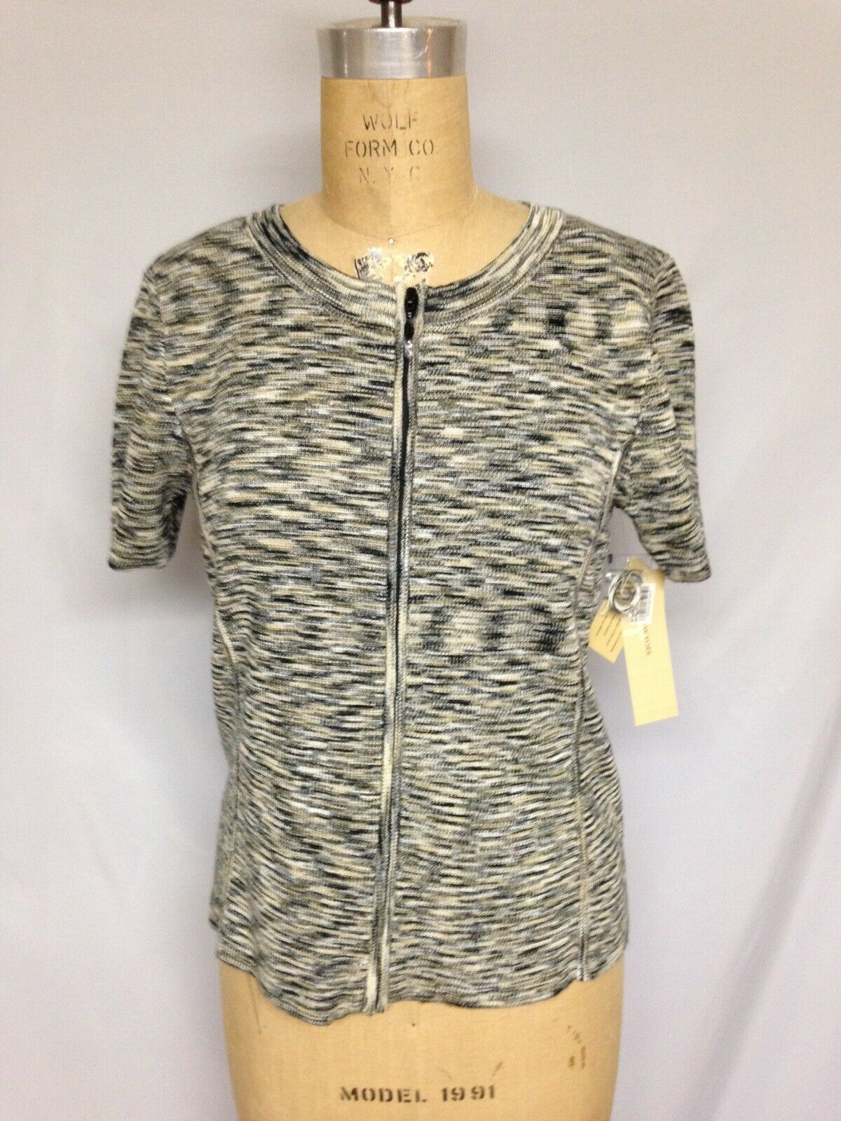 Jones New York S S Zip Front Sweater S NWT  Multi