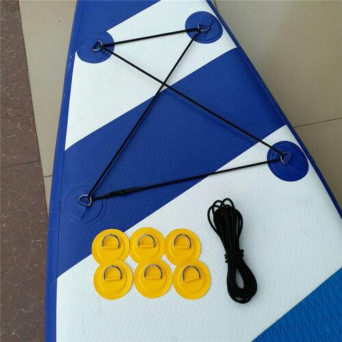 6Pcs Edelstahl D Ring Patch /& 5m Schock Kabel für Schlauchboot Schlauchboot
