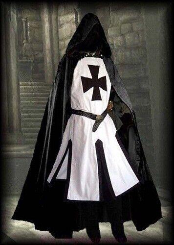 Medieval Costumes Black Templar Tunic, Surcoat & Cloak Reenactment SCA LARP