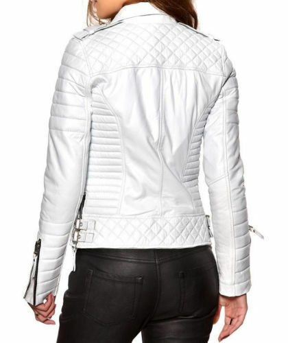 Skin Quilted Kvinders Jakke Læder Designer Lamb White Ladies Fashion wgI5UIq