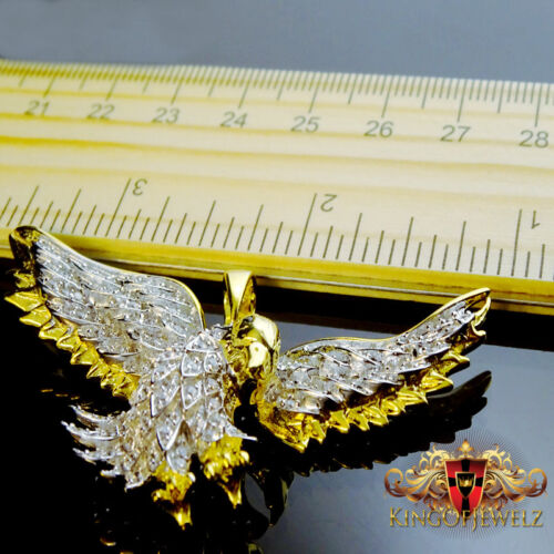 REAL SILVER G//P WHITE SIMULATED LAB DIAMOND AMERICAN EAGLE LANDING CHARM PENDANT