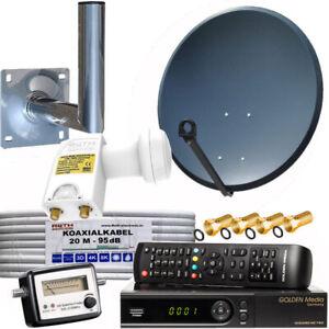 Sat-Anlage-80cm-Spiegel-HD-IPTV-Sat-Receiver-Satfinder-Twin-LNB-0-1dB-Wanhalter