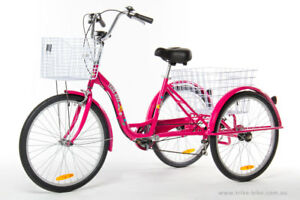 "Trike Bike Adult Tricycle 24"" Aluminium 3 Wheels 6 Speed Baskets Hot Pink"
