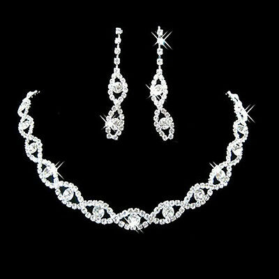55b Boxed Bridal Silver Glitzy Rhinestone Crystal Diamond Style Necklace Set
